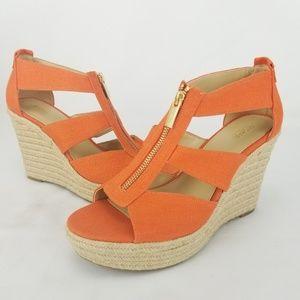 Michael Kors Women Orange Zip Up Ankle Strap Espad